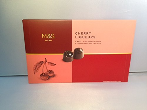 Marks & Spencer / M&S Cherry Liqueur   Whole Cherries Soaked in Liqueur & Covered in Rich Dark Chocolate 250g