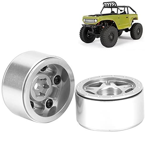 Cubo de Rueda RC 1/24, Kit de Cubo de Rueda RC Mejora del Rendimiento del Coche RC Procesamiento Estable y fiable para Coches Axial SCX24 90081 1/24 RC(Silver)