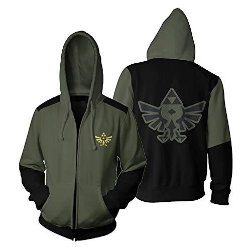 Cosplay Legend of Zelda Triforce Costume Hoodie Breath of The Wild Link Hooded Sweatshirts Men's Zipper Jacket M