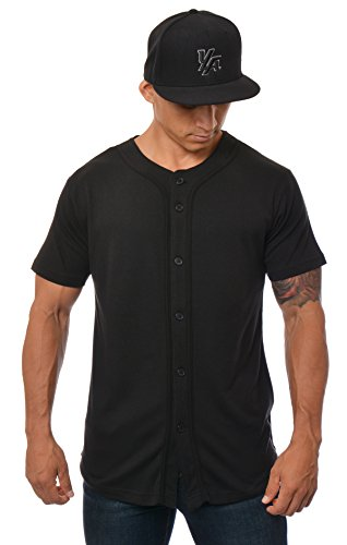 YoungLA Baseball Jersey Plain Shirts for Men Button Down Sports Tee Made w/Soft Cotton 304 All Black - Large
