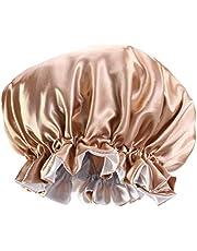 قبعة للنوم من الصوف من KESYOO مزدوجة الطبقة من الساتان قبعة نوم كبيرة مستديرة قبعة للنساء الليلية قبعة شعر صالون التجميل للنساء (كاكي)