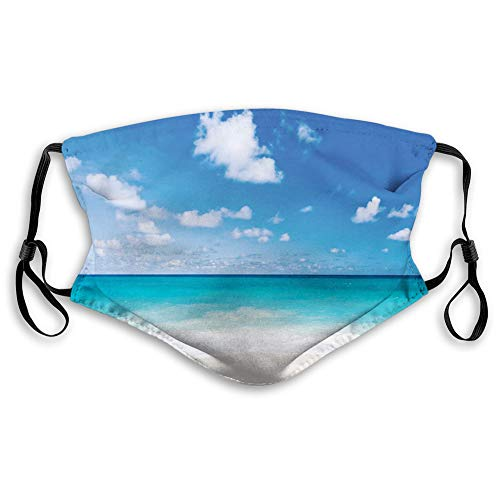 Windproof Activated Carbon mask,Ocean,Tropical Exotic Sandy Beach Caribbean Sea Bay Barbados Coastline Summertime,Blue Aqua Coconut,Facial decorations for adults (M)