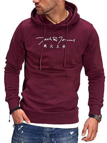 JACK & JONES Herren Hoodie Kapuzenpullover mit Print Sweatshirt Hoody Pullover (S, Port Royale)