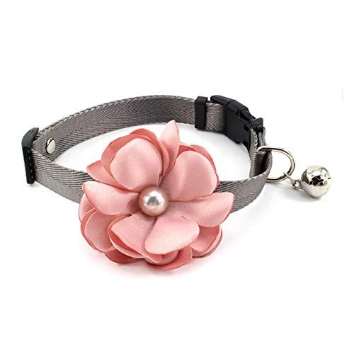 PetFavorites Geranien Blume Katze Hund Halsband Fliege Nylon Welpen Halskette mit Perle Glocke Chihuahua Yorkie Kleidung Kostüm Outfits Zubehör Verstellbar und Handgemacht (Rosa, Größe XS)