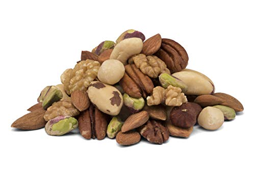 Mezcla de 9 tipos de nueces orgánicas - nueces de Brasil, avellanas, almendra, nueces, nueces de macadamia, pecanas, albaricoques dulces, pistachos y anacardos, BIO, crudas sin tostar 650g 0,65kg