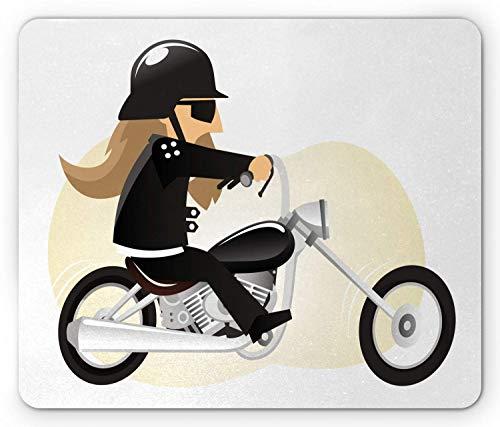 Motorfiets muis pad, Cartoon van een lange haren man het dragen van een zonnebril en Biker jas, rechthoek anti-slip Rubber Mousepad
