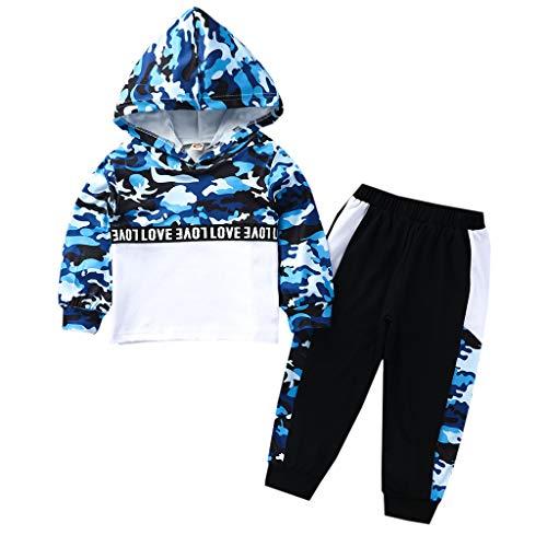 Anglewolf Baby Kinder Langarm Shirt Outfits Set Baby Jungen Gestreiftes Hoodie Tops+Camouflage Hosen 2 Pcs Baby Kleidungsset für Frühling und Herbst