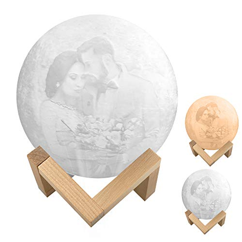 Rcinodhilary 3D Printing Moon Lamp Personalized Custom Photo Text Night Lights,2/16 Colors Moonlight With Wooden Stand Remote & Touch Control USB Rechargeable Personalized Gift