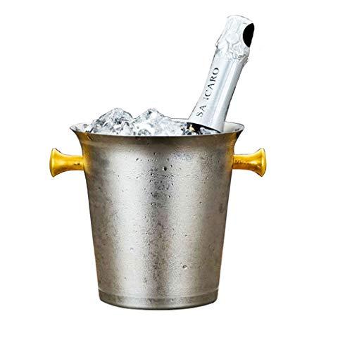 LXJ Cubo De Hielo De Acero Inoxidable 5L Y Pinzas De Hielo, Cubo De Hielo, Fiestas Familiares Fiestas De Barbacoas Rose Golden Ear Champagne Bucket(Color:3L)