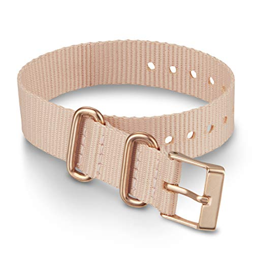 Timex 16mm Fabric Single-Layer Slip-Thru Strap – Pink with Rose Gold-Tone Buckle