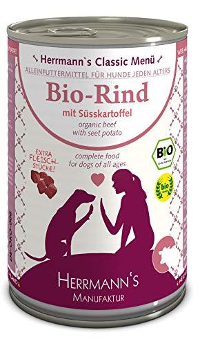 Herrmanns Bio Hundefutter Rind Menu 2 mit Süßkartoffel, Kürbis, Zucchini 400 g, 12er Pack (12 x 400 g)