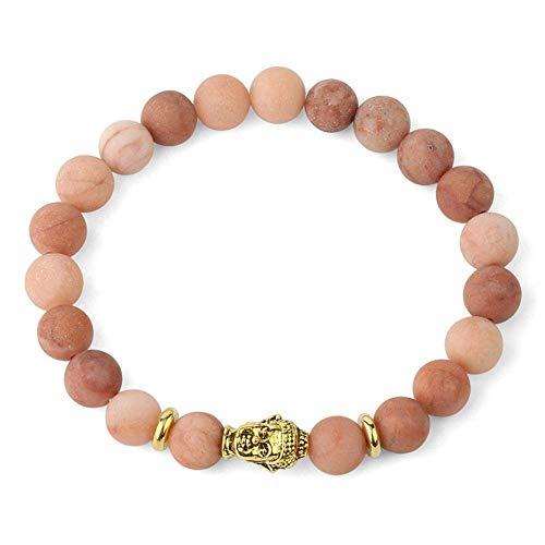 Pulsera De Yoga De Aventurina Rosa Mate De Piedra Natural, Pulseras Elásticas De Cuentas De Mala para Mujer, Brazaletes De Oración De Buda Unisex-Buddha