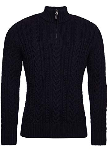Superdry Mens Jacob Henley Pullover Sweater, Downhill Navy, Large