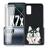 KJYF Fundas para OPPO K7x (6.5') + 2 Piezas Protectores de Pantalla in Cristal Templado HD, Case Caso Cover Negro TPU Silicona para OPPO K7x - WMA2