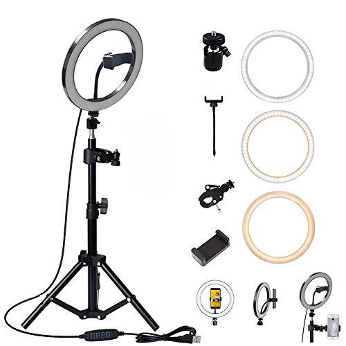 USB LED Ringlicht Ringleuchte Fotolicht Studiolicht Lampe Selfie Handy Stativ, Dimmbare Blitzgeräte mit Fernbedienung, 10 Zoll / 26CM Licht Kreis Ring für Make-up, Videoaufnahmen, Selfie