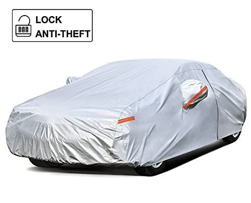 Kayme Car Cover Waterproof All Weather with Lock and Zipper, Outdoor Sun Uv Rain Protection, Fit Sedan (186 to 193 Inch) H3