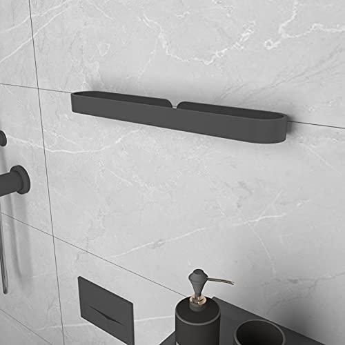 KERMEO Moderno y sencillo toallero sin necesidad de taladrar, autoadhesivo de 15,7''. Toallero en barra para baños, robusto y resistente a la corrosión (negro mate).
