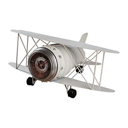 JCOCO American antique fer avion modèle bureau horloge créative salon vin armoire chambre décoration (Couleur : Blanc)