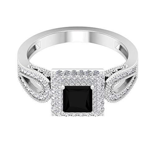 Anillo de compromiso vintage de diamante negro creado en laboratorio de 1 ct con halo de doble diamante (calidad de reliquia), 14K Oro amarillo, Size:EU 47