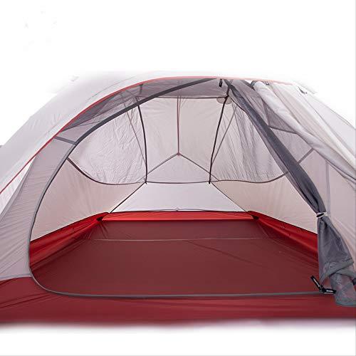 BAJIE Zelt Promotion 2 Personen 3 Personen Zelt 20D Silikon Stoff Doppelschicht Camping Wanderzelt Leichtgewicht2 Personen Grau