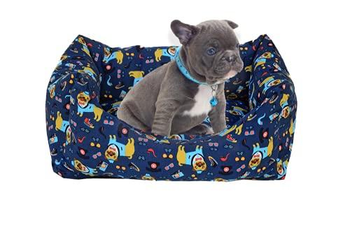 PUPY CUCCIA Cane Interno, Artigianale, 45X60cm, Letto per Cani taglia piccola, Cuccetta per Cani e gatti, Cuccia morbida estiva (45x60 SLEEPY)
