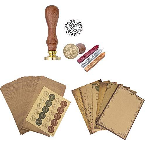 Mogokoyo Schreiben Set- Retro Briefpapierset (56 Blatt Altes Papier + 50 Umschläge + 20 stück Aufkleber) + Vintage-Stil Wachs Siegelstempel mit verschidene Gravur (With Love)