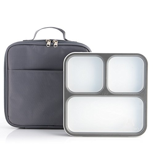 Modetro Ultra Slim Leak Proof Bento Lunchbox with 3 Portion Control Compartments,...