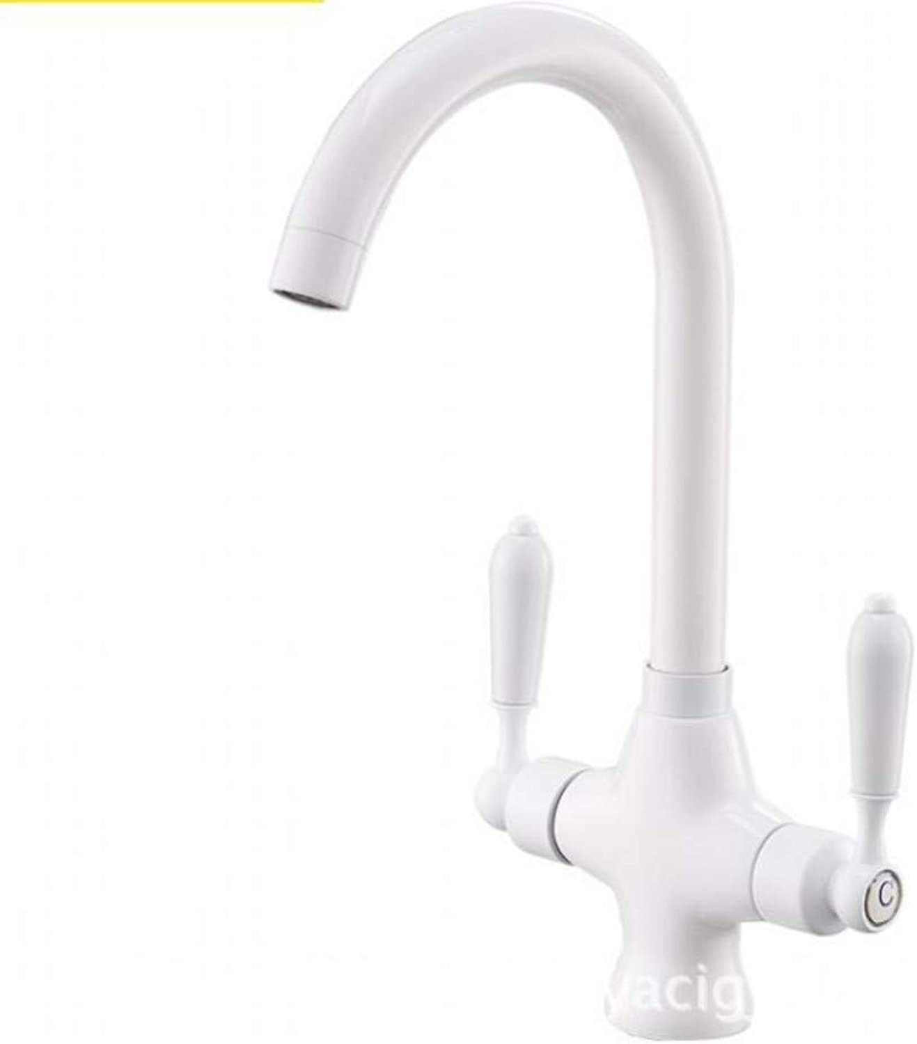 Bathroom Sink Basin Lever Mixer Tap Double Double Control Single Hole Kitchen Faucet Sink Hot and Cold Faucet