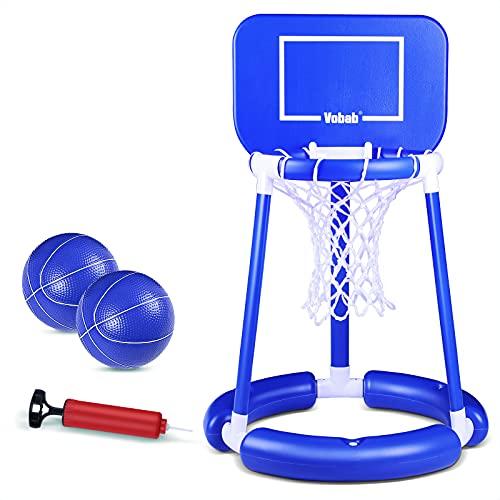 OBOVO Floating Basketball Hoop mit Board Swimming Pool Water Game Set für Outdoor, Swimming Pool Basketball Game, Beinhaltet Pool Water Basketball Hoop, 2 Bälle und Pumpe