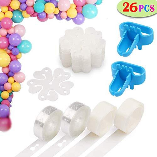 2 Rouleaux Bande de Ballons Arch, 2 Rouleaux Points de Colle Décoratifs Ballon, 20 Pinces à Fleurs, 2 Outils de Cravate, pour Déco Noce/Anniversaire/Noël etc