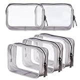 5 Pack Clear PVC Zippered Toiletry Carry Pouch Portable Cosmetic Makeup Bag for Vacation, Bathroom and Organizing (Small, Black)