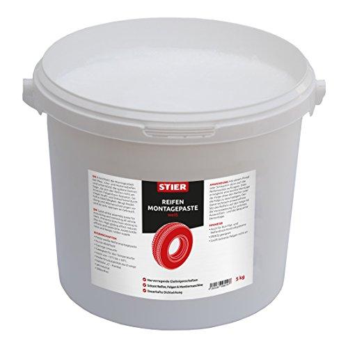 STIER Reifenmontagepaste, weiß, 5 kg, pH-Neutral, Silikonfrei, -15 °C bis + 60 °C, hohe Gleitfähigkeit, Hohe Druckstabilität, Montagearbeit Auto, Lkw, Motorradreifen