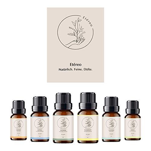 Aromaöle 6 Flaschen á 10 ml | bio Sauna Aufguss Ätherische Öle & Duftöl für Aroma Diffuser | 100% Vegan & Naturrein | Naturkosmetik | Etéreo