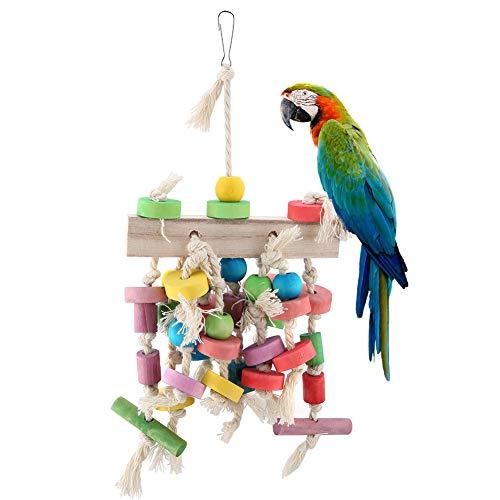 Pssopp Papageienspielzeug Kauspielzeug aus Holz hängen Bunte Biss Holzblöcke Vögel Spielzeug für Käfige, Geeignet für Papageien, Sittiche, Aras, Graupapageien