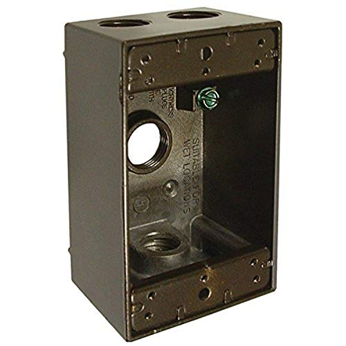 Hubbell-Bell 5321-2 Single Gang Weatherproof Box with 4-1/2-Inch Outlets, Bronze