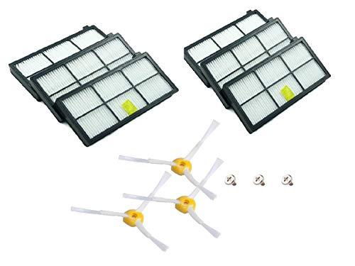 MAXDIRECT Kit Recambios de 6 Filtros y 3 Cepillos de 3-Armada Compatible con iRobot Roomba Serie 800 y Serie 900.