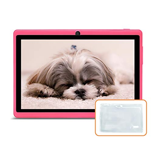 JINYJIA 7' Tablet PC, Google Android Tablet With Silicone Gel Translucent Case, Quad Core, Dual Cameras, Bluetooth, WiFi, Pink