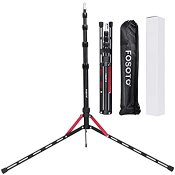 FOSOTO Photography Tripod Stand 6.3 Feet Aluminum Alloy Light Stand Compatible for Digital Cameras Photo Studio Speedlight Ring Light Reflector Samll Softbox Flash Umbrella Lightstand with 1/4 Screw