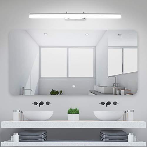 Klighten Lampada da Specchio a LED per Bagno18W 1170LM Bianco freddo 5500K Lampada da parete IP44 Lampada Specchio Bagno acciaio inox 80CM