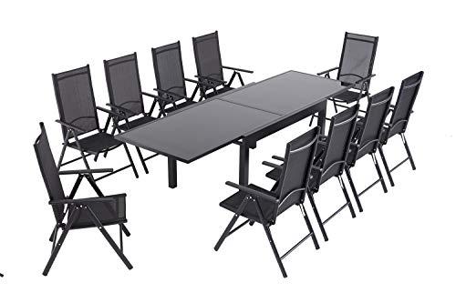 Laxllent Table de Jardin Extensible, Rétractable Table en Aluminium et Verre et 10 Fauteuils de Meubles de Jardin, Imputrescible et Antirouille,Noir