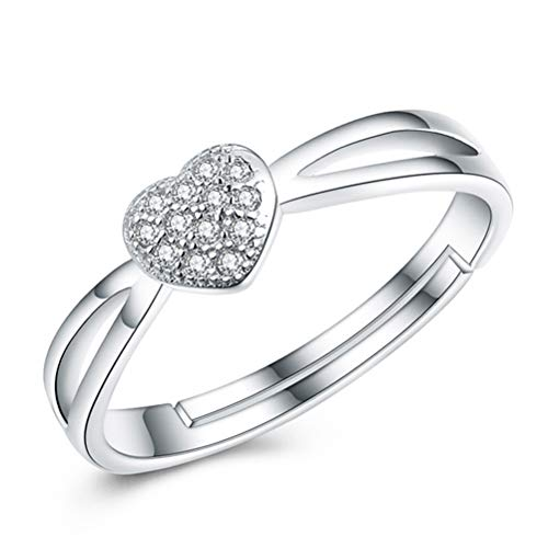 HAISWET Heart 925 Sterling Silver Adjustable Ring Band From J to Q Micro Pave Cubic Zirconia