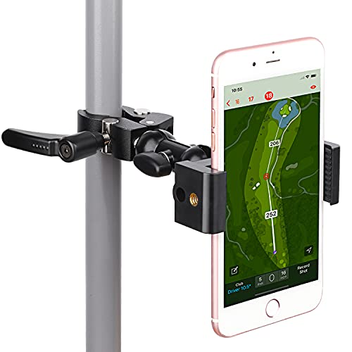 iTODOS Cell Phone Holder Mount Clip for Golf Cart,Wheelchair Walker,Stroller,Spin Bike, Table, Clamp Fits iPhone,Galaxy, Nexus,Most Phones and GPS up to 4' Wide,Aluminum Alloy Material