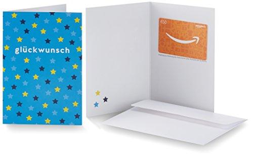 Amazon.de Geschenkkarte in Grußkarte - 50 EUR (Glückwunsch Sterne)