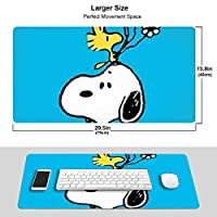 Snoopy スヌーピー マウスパッド 光学マウス対応 パソコン 周辺機器 超大型 防水 洗える 滑り止め 高級感 耐久性が良い 40*75cm