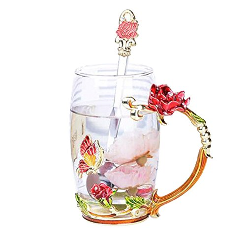 YBK Tech Creative Flower Glass Mug Crystal Glass Tea Cup for Hot Beverage, Iced Tea, for Sister, Mom, Grandma- Red Butterfly and Red Rose, without Gift Box (Big (350ml))