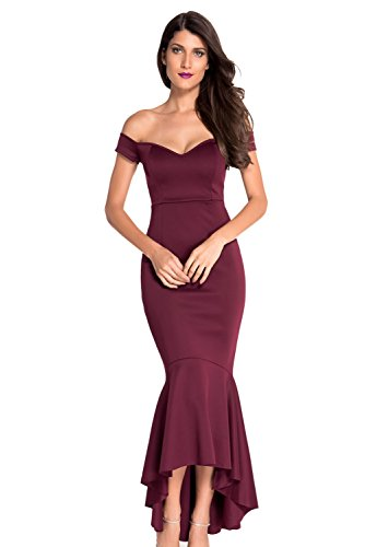 Ouregrace Womens Fishtail Long Evening Dress Off Shoulder Party Dress Wine Red