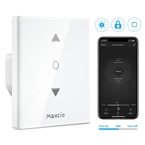 【4 Generation】Maxcio Smart Rolladen Zeitschaltuhren Prozentkontrolle, Schaltbares LED/Pause Funktion/Smart Alexa Rolladen Jalousie Schalter, Kompatibel mit Alexa und Google Assistant, APP Steuerbar