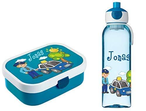 Mein Zwergenland Brotdose Mepal Campus inkl. Bento Box und Gabel + Campus Wasserflasche mit Namen Blau, Polizei
