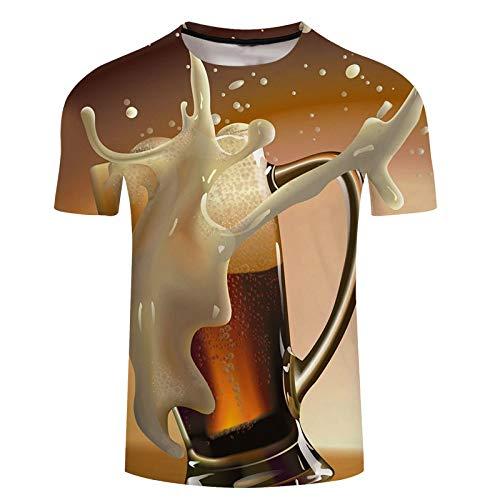 NSBXDWRM 3D Printed Shirts,Unisex Nieuwigheid Creatief Bier Oktoberfest 3D Print Animal Graphic T-shirt met korte mouwen Zomer Paar Mode afdrukken Casual Snel Drogen Grote Tees Tops