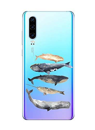 Suhctup Case Compatible con Motorola Moto G7 Power Funda Transparente Suave Silicona TPU Bumper Cárcasa Dibujos Animales Diseño Ultra Delgada Antigolpes de Protector Piel Cover,5 Peces